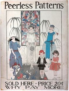 1920s Peerless Patterns advertising poster with bridal scene