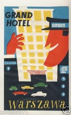 Old Luggage Label Kofferaufkleber Etichetta Grand Hotel Warszawa Poland | eBay