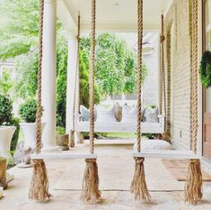 Awesome Farmhouse Porch Swing Decor Ideas What's not to love about a front porch swing? Relaxing, charming, and an invitation to your guests to come sit a spell. Few things add as much curb appeal, and even fewer do it… Continue Reading → Farmhouse Porch Swings, Front Porch Swings, Farmhouse Front Porches, Porch With Swing, Front Porch Seating, Front Porch Design, Porch Swing Beds, Outside Swing, Yard Design