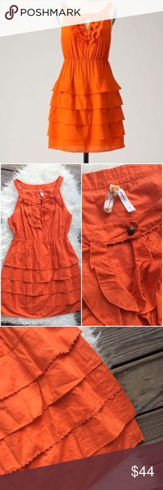 """Anthropologie Maeve Teresina Tiered Voile Dress Excellent condition Maeve Teresina Tiered Voile Dress from Anthropologie. Size 4. Fully lined, 100% cotton. Bright rust orange with elastic waist.  Bust 38"""", waist from 28""""-34"""", hips 42"""", length 34"""". No trades, offers welcome. Anthropologie Dresses"""