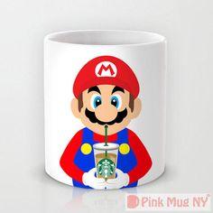 Personalized mug cup designed by PinkMugNY - I love Starbucks - Super Mario