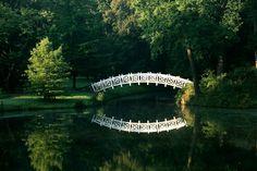 Wörlitzer Park, Wörlitz, Niemcy. Bogaty układ wodny z licznymi kanałami spowodował koniecznośc budowy kilkunastu mostów, które stały się znakomitymi punktami widokowymi. Były one wykonane z kamienia, drewna, a nawet stali i tak jak pozostałe budowle reprezentowały różnorodne style: od chińskiego po rustykalny.