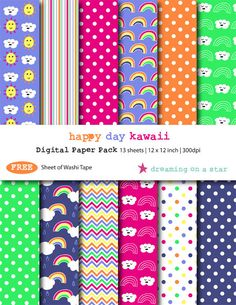 SALE Buy 3 Get 1 FREE. Happy Day Kawaii Digital Scrapbook Paper Pack by DreamingOnAStar, $4.20