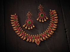Indian Jewellery and Clothing: Beautiful silver temple jewellery coated with gold from Kushal's fashion jewellery,Bangalore..