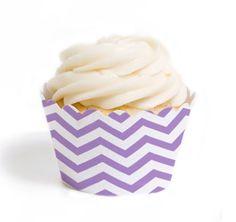 Lavender Chevron Cupcake Wrappers #theweddingoutlet