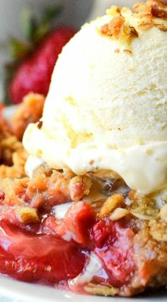 Strawberry Rhubarb Pecan Crisp ~ It's the perfect combination of sweet and tartness... Everybody who tries it just absolutely raves about it!
