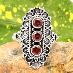 BALI STYLE-Red Garnet Gems Jewelry 925 Sterling Silver Handmade Ring Size us 7 #Unbranded #Ring #Wedding