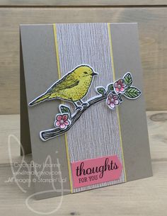 Thoughts for You | Stampin\' Up! | Best Birds #literallymyjoy #birds #spring #goldfinch #dogwoodtree #flowers #watercoloring #branch #thoughtfulness #friend #SereneSceneryDSP #flirtyflamingo #tweet #chirp #springtime #20162017AnnualCatalog