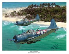 """The SBD Dauntless was designed by Douglas' famed chief engineer Ed Heinemann. Know as """"Slow But Deadly"""" by her crews, the SBD Dauntless proved to be up to the task during the war in the Pacific. Perhaps her greatest claim to fame was the sinking of no less than four Japanese aircraft carriers during the Battle of Midway. This battle proved to be the turning point of the war in the Pacific"""