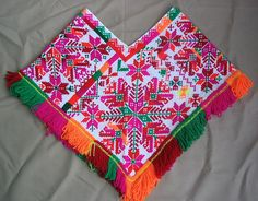 colorful embroidered quechquemitl from Huastec community of Aquismon, San Luis Potosi Mexican Outfit, Mexican Dresses, Mexican Crafts, Mexican Art, Mexican Embroidery, Embroidery Art, Mexican Textiles, Mexican Designs, Native Style