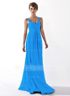Empire Sweetheart Floor-Length Ruffle Zipper Up Regular Straps Sleeveless Royal Blue Fall General Plus Chiffon Bridesmaid Dress
