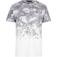 White faded camouflage print T-shirt $30.00