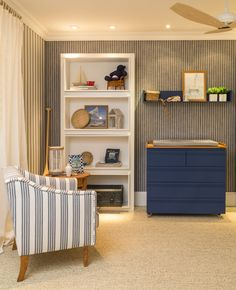 The Navy style was the bet in the baby room of Andrezza Alencar (Andrezza … - Decorate Your Life, Decorate Your Style Baby Bedroom, Baby Boy Rooms, Baby Room Decor, Nursery Room, Kids Bedroom, White Nursery, Kids Rooms, Kids Room Design, Baby Design