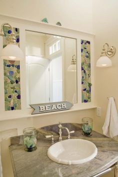 Home Projects: Sea-Glass Mirror Surround knote: thise can be used in alot of different colors..