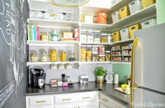 Gold accents and bright colours give this pantry some fun flair. Get the tutorial at Polished Habitat.