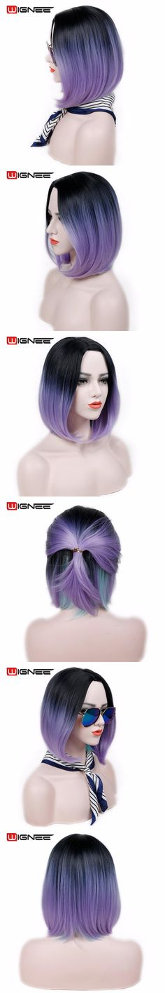 Wignee Heat Resistant Synthetic Straight Bob Hair Wig 2 Tone Ombre Purple Halloween Costume Cosplay Wigs For Black/White Women