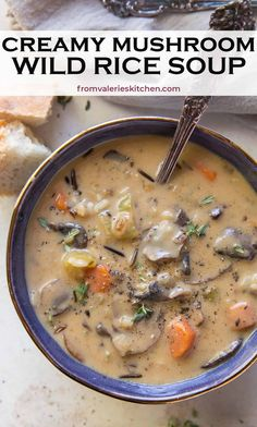 Tender mushrooms and a delicious wild rice blend cook in a creamy, herb-infused broth. This Creamy Mushroom Wild Rice Soup is a hearty, soul warming soup for a cold fall or winter night. Kitchen Recipes, Soup Recipes, Cooking Recipes, Healthy Recipes, Valerie's Kitchen, Chili Recipes, Yummy Recipes, Yummy Food, Creamy Mushrooms