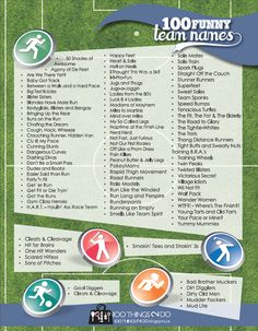 100 Funny Team Names A Compilation List Of The Funniest For Sports Race Teams On Internet Free Printable Running Team Names, Team Names List, Fitness Team Names, Crossfit Team Names Funny, Running Club, Walking Challenge, Workout Challenge, Football Team Names, Fantasy Football Names Funny