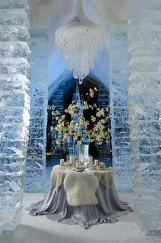 Ice hotel dinner for two!