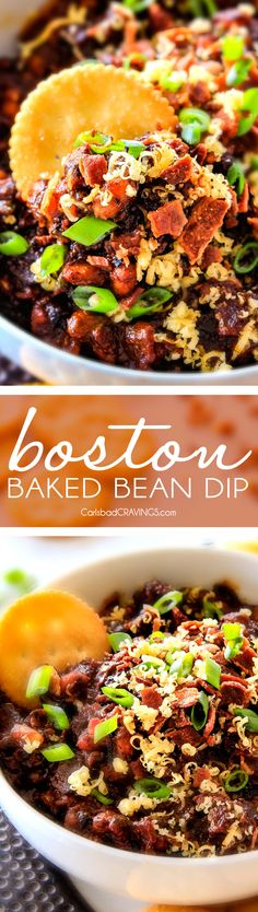 Super easy Boston Baked Bean Dip piled with bacon, cheese, sour cream, green onions for your favorite savory, sweet and smoky beans in savory scoop form! Always a crowd pleasing appetizer!