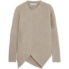 Stella McCartney Asymmetric ribbed wool sweater ($885) ❤ liked on Polyvore featuring tops, sweaters, jumpers, stella mccartney, knitwear, medium knit, neutrals, stella mccartney top, stella mccartney sweater and asymmetrical sweater