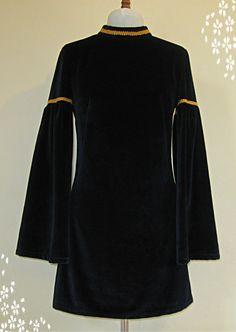 Deep Blue Velvet mini dress with angel sleeves