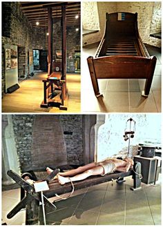 "Castle Gravensteen in Ghent - Wonderful Wanderings. Most of the torture tools are displayed in a ""sober"" way, although there are some puppets that demonstrate how certain tools were being used as well. Something you might want to know when bringing little kids."
