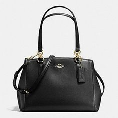 New Authentic Coach F57520 Small Christie Crossgrain Leahter Carryall Satchel Shoulder Bag In Black