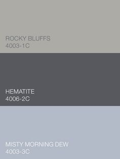 Pale. Smoky. Pretty. Rocky Bluffs 4003-1C, Hematite 4006-2C and Misty Morning Dew 4003-3C by Valspar infuse the Simply Perfect palette with practicality and panache. Available at Lowe's.