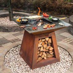 Fire Pit Grill, Diy Fire Pit, Fire Pit Backyard, Outdoor Fire, Outdoor Decor, Outdoor Living, Grill Table, Fire Pit Designs, Fire Pit Table