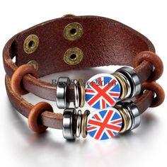 Details zu Damen Herren Leder Armband UK Britische Flagge Ringe Kreise Nieten…