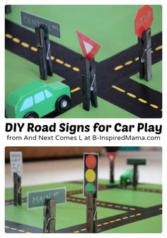 Easy DIY road signs for Hot Wheels playtime! These crafts make the perfect addition to your kids' car collection and work great on all their unique roadway toys.