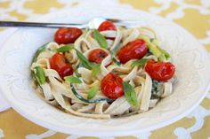 Zucchini Ribbon Pasta with {light!} Creamy Lemon-Basil Sauce