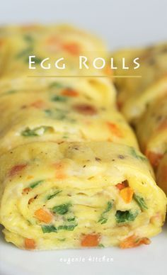 Egg Rolls Recipe  Korean Side Dish 3 eggs 1 tablespoon milk 1 tablespoon carrot, finely chopped 1 tablespoon onion, finely chopped 1 tablespoon Spring onion, finely chopped Salt and freshly ground pepper for seasoning