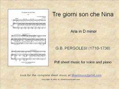 Pergolesi: Tre giorni son che Nina Sheet Music for: Cello and piano Includes: One score and one part pages) Price: USD