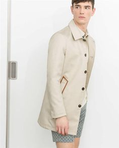 ZARA Man Beige Limited Edition Short Trench Coat With Pocket Edging RRP £179