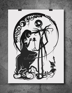"""Jack and Sally Nightmare Before Christmas Screen Print of my paper cut // signed 12""""x18"""" French Sweet Tooth 100lb paper black metallic ink by willpigg on Etsy https://www.etsy.com/listing/230770807/jack-and-sally-nightmare-before"""