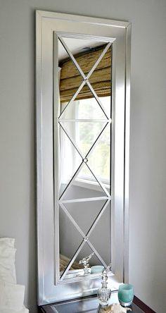 DIY: Upcycle Door Mirror into Stylish Wall Mirror {tutorial by Lilikoi Joy} Long Mirror, Diy Mirror, Mirror Door, Mirror Ideas, Sunburst Mirror, Black Mirror, Deco Dyi, Cheap Doors, Diy Furniture