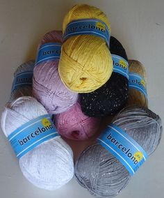 Barcelona,sparkly cotton lurex knitting and crochet yarn only £7.25 for 4 x 100g balls, available from The Knitting Wool Store - http://www.the-knitting-wool-store.com/400g-cotton-lurex-yarn.html