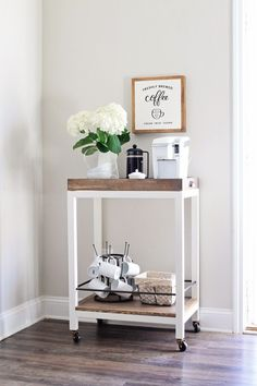 Here are 30 brilliant coffee station ideas for creating a little coffee corner that will help you decorate your home. See more ideas about Coffee corner kitchen, Home coffee bars and Kitchen bar decor, Rustic Coffee Bar. Coffee Nook, Coffee Bar Home, Home Coffee Stations, Coffee Carts, Office Coffee Station, Coffe Bar, Coffee Bar Ideas, Coffee Barista, Coffee Maker