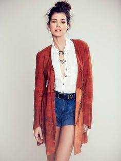 Chilli Painted Suede Jacket .FP