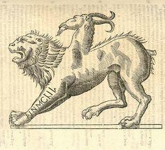 "Icon Monstrosae cuiusdam Chimaerae ""Ulissi Aldrovandi (Aldrovandus) (1522-1605)   Woodcut illustrations from Aldrovandi's 'History of Monsters'"