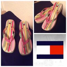 "Tommy Hilfiger Multi-Color Sandals Beautiful Sandals by Tommy Hilfiger has bright and vibrant colors: white/green/pink/burgundy.  Has a ""2 small heel and are super comfortable. Size 10. These shoes are used and worn. Non smoking home. Please submit ALL Offers through the offer button ONLY. Will not negotiate price in the comment section. Tommy Hilfiger Shoes Sandals"