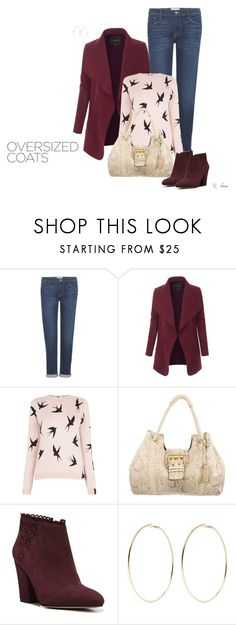 """""""Oversized Coat"""" by ksims-1 ❤ liked on Polyvore featuring Frame, LE3NO, Oasis, Elie Saab, Franco Sarto and Kenneth Jay Lane"""