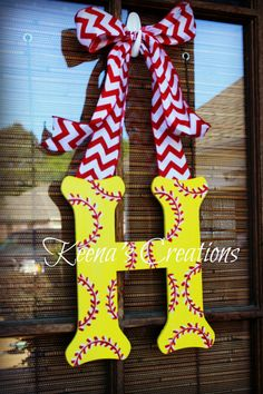12 inch Softball Theme Wooden Letter Door by keenascreations, $25.00