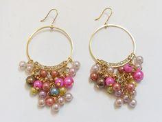 Bead With Crystal Stud Multi-Colour Hoop Drop Earrings