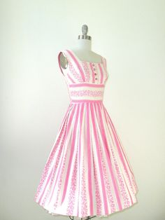 vintage 1950s Dress // Pink Confection Cotton Day by DeseoVintage, $90.00