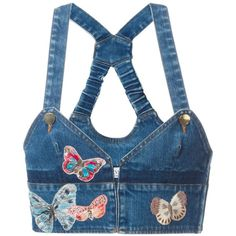 Valentino Butterfly Embroidery Denim Top ($1,475) ❤ liked on Polyvore featuring tops, shirts, denim, denim crop top, embroidered shirts, denim top, racer back crop top and crop shirts