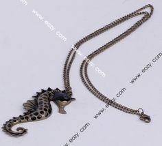 85cm Black Sea Horse Necklace Sweater Chains Jewelry Vintage Charms