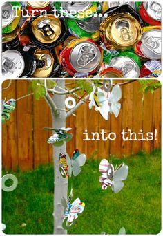 pop cans into butterflies